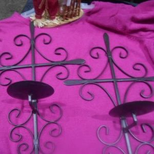 2 Iron 18 inch Cross candle holders